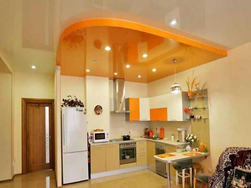 Двухуровневые натяжные потолки с подсветкой - фото